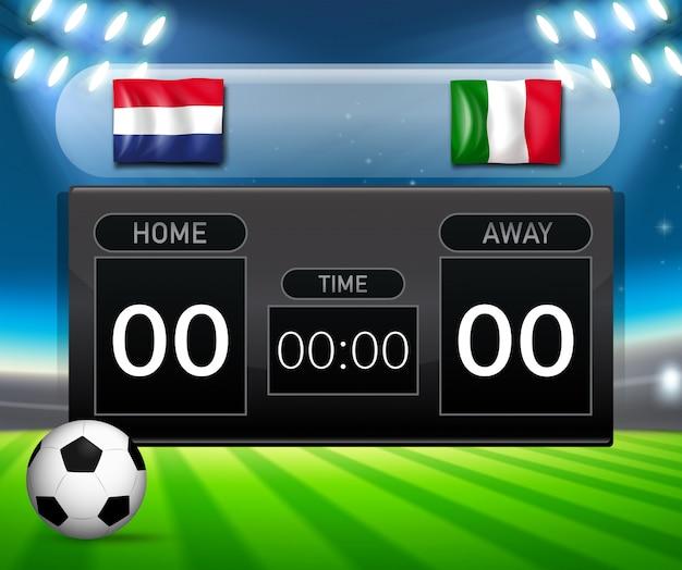 Placa de placar holanda vs itália