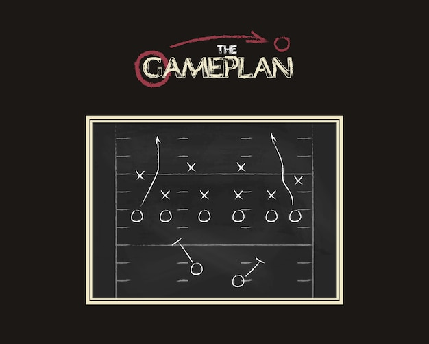 Placa de plano de jogo de futebol americano