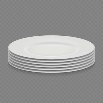 Placa de prato branco realista 3d isolada, vew frontal