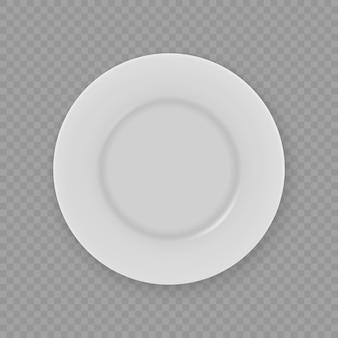 Placa de prato branco realista 3d isolada