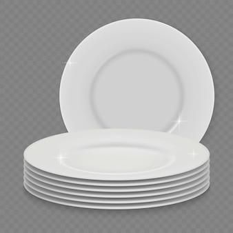 Placa de prato limpo branco realista 3d isolada