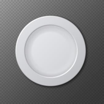 Placa de prato vazio de cerâmica isolada realista vazia