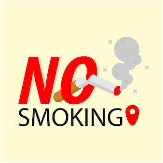Placa de proibição de fumar, cigarro fumando, emblema do ícone de risco de incêndio
