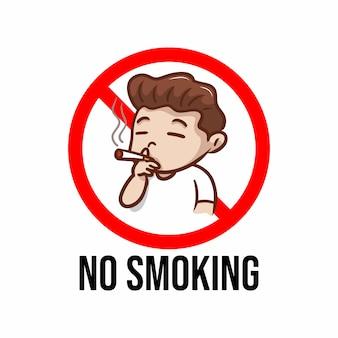 Placa de proibição de fumar com ilustração de menino