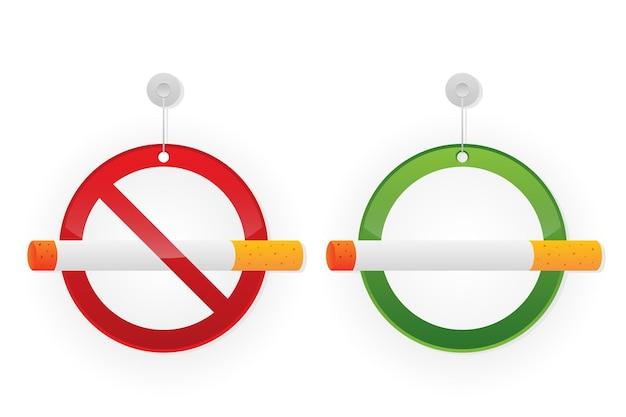 Placa de proibição de fumar e área de fumantes