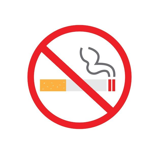 Placa de proibição de fumar no fundo branco