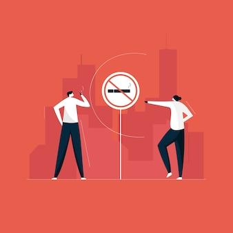 Placa de proibição de fumar, zona de proibido fumar e conceito de problema social