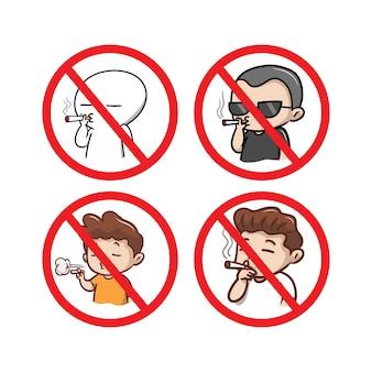Placa de proibido fumar com ilustração