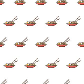 Placa de ramen noodles padrão sem emenda. ilustração de tema de comida de macarrão oriental
