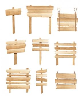 Placa de sinais de madeira coleção ou vetor de orientação