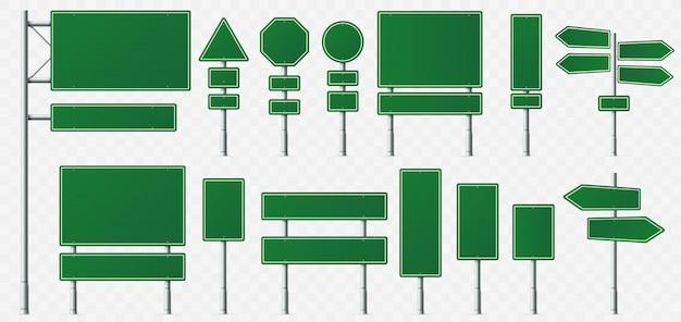 Placa de sinal de direção, sinais de destino de estrada, placas de sinalização de rua e ponteiro de placa de direção verde isolado
