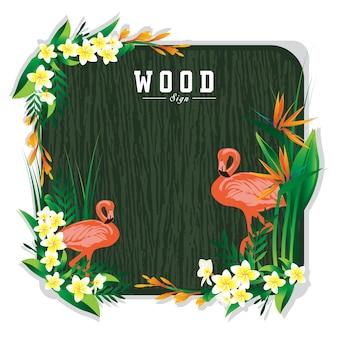 Placa de sinal de madeira e ilustração de flor de flamingo