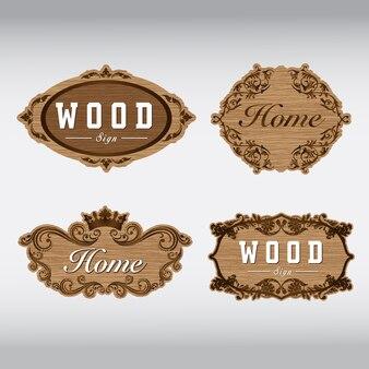 Placa de sinal de madeira e llustration de flor