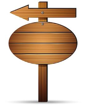 Placa de sinal de madeira em um fundo branco