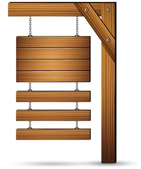 Placa de sinal de madeira pendurada com correntes