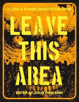 Placa de sinal de surto de zumbi de cartaz