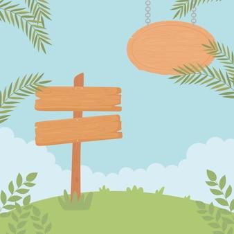 Placa de sinalização e placa de madeira
