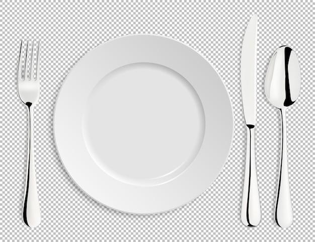 Placa de vetor vazio realista com colher, faca e garfo isolados. molde do projeto, ilustração eps10.