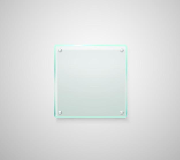 Placa de vidro de publicidade.