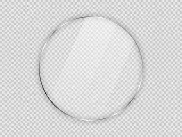 Placa de vidro em moldura de círculo isolada em fundo transparente. ilustração vetorial.