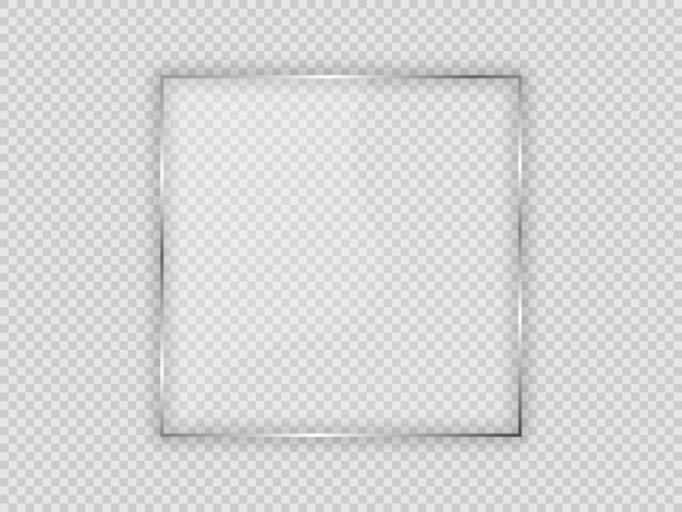 Placa de vidro em moldura quadrada isolada em fundo transparente. ilustração vetorial.