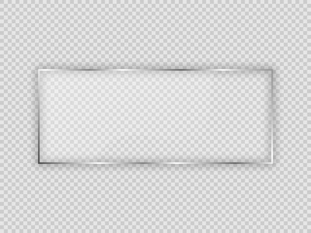 Placa de vidro em moldura retangular isolada em fundo transparente. ilustração vetorial.