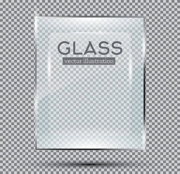 Placa de vidro isolada em fundo transparente.