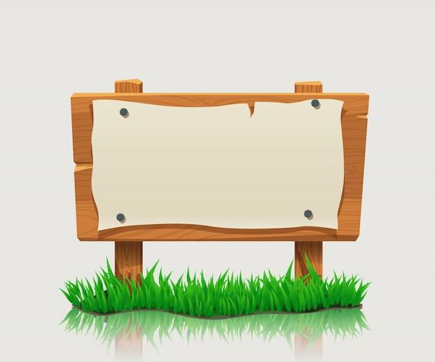Placa direcional de madeira com grama