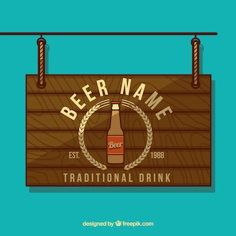 Placa do sinal de cerveja de madeira
