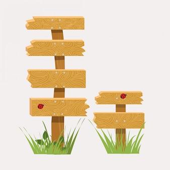 Placa do sinal de madeira com ilustração da textura natural.