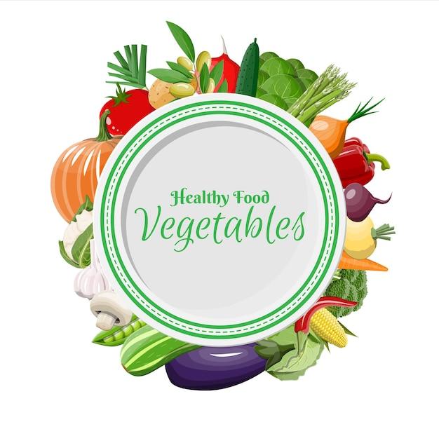 Placa e conjunto de ícones de vegetais grandes. cebola, berinjela, repolho, pimenta, abóbora, pepino, tomate, cenoura e outros vegetais.