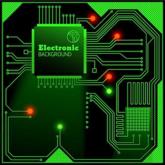 Placa eletrônica com fundo de luzes brilhantes
