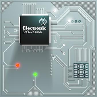 Placa eletrônica com fundo de luzes