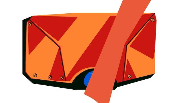 Placa em branco de metal vermelha com parafusos, quadro de tecnologia para interface gráfica do jogo, ilustração vetorial de desenho animado