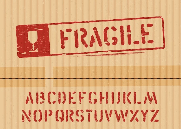 Placa frágil em fundo de caixa de papelão de carga com fonte para logística ou embalagem