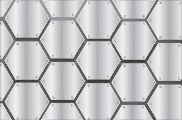 Placa hexágono de metal e fundo preto