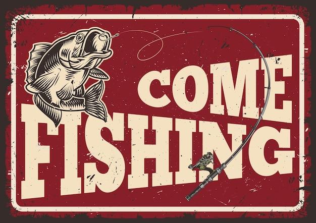 Placa horizontal vintage para a temporada de pesca com vara de pescar e poleiro
