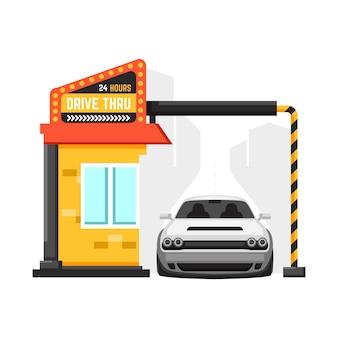 Placa ilustrada de drive thru