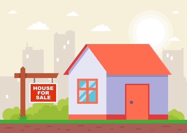 Placa indicando a venda da casa. ilustração vetorial plana.