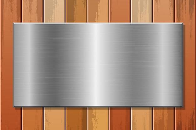 Placa metálica em ilustração de fundo de madeira