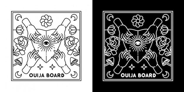 Placa ouija com design monoline a quatro mãos