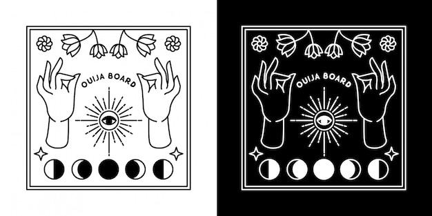 Placa ouija com mão e lua monoline design