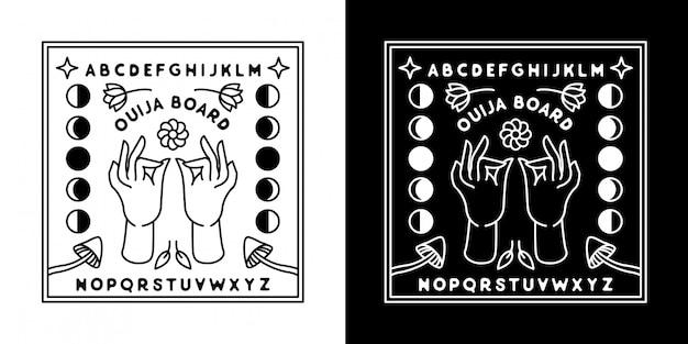Placa ouija com mão monoline design