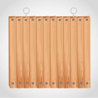 Placa quadrada de madeira com ilhós para pendurar