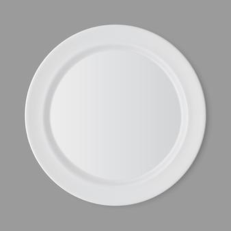 Placa redonda plana vazia branca isolada, vista superior