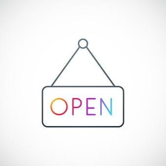 Placa suspensa com texto aberto