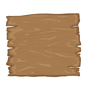 Placa velha de madeira em estilo retro dos desenhos animados, isolado no fundo branco. modelo de texto.