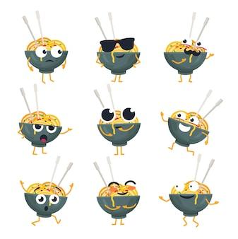 Placa wok engraçada - emoticons de desenhos animados isolados de vetor. emoji fofo com um personagem legal. uma coleção de macarrão chinês zangado, surpreso, feliz, louco, sorridente e triste em fundo branco