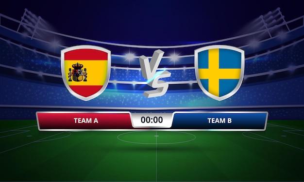Placar completo do jogo de futebol da copa do euro espanha x suécia Vetor Premium