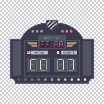 Placar de estádio digital com ilustração plana de relógio isolado em um fundo transparente.
